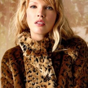 Free People Fur Leopard Swing short jacket fuzzy